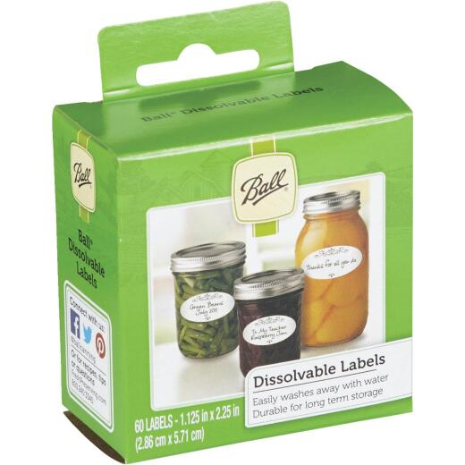 Ball 1.125 In. W x 2.25 In. L Dissolvable Jar Label, (60-Pack)