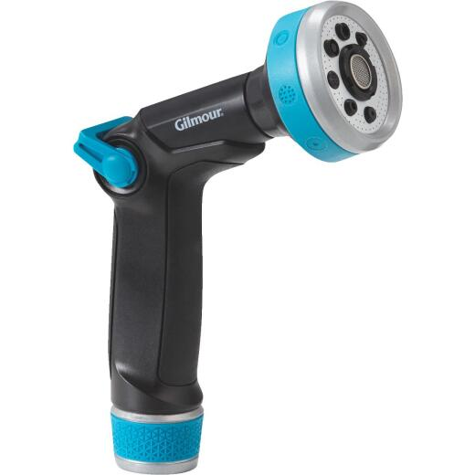 Gilmour Swivel Connect Metal 8-Pattern Thumb Control Nozzle, Black & Green