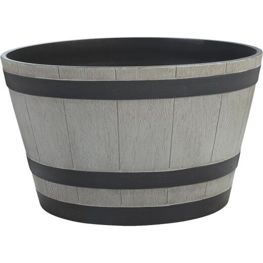Southern Patio 13-1/2 In. H. x 22-1/2 In. Dia. Birchwood High-Density Resin Traditional Whiskey Barrel Planter